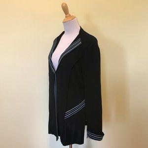Ming Wang One Hook Cardigan Jacket, SZ Large, Navy
